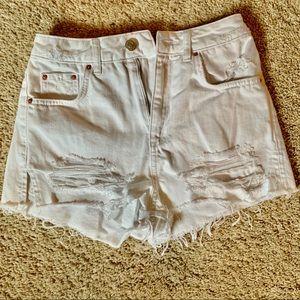 Top shop white denim mom cut off shorts